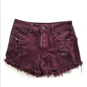 American Eagle Burgundy Distressed Denim Shorts